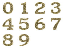 Gold font - numbers set. Gold numbers set isolated on white background stock illustration