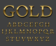 Gold   font. Tarnished Gold font set. Letter Uppercase with shadows. Vector Royalty Free Stock Photos