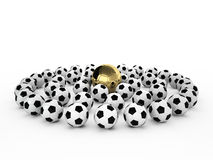 A gold football ball in many white football balls. 3d render Stock Images