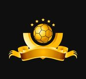 Gold football banner. Illustration of decorative gold football banner with copy space, isolated on black background Royalty Free Stock Photo