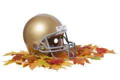 Gold football helmet on fall leaves isolated. A gold football helmet sits in a bunch of colorful maple leaves isolated on a white background royalty free stock photography