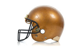 Gold football helmet on a white background Stock Image