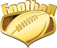 Gold Football Shield with Text Royalty Free Stock Photo