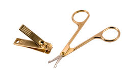 Gold forceps and scissors Stock Photography