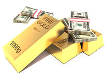 Gold and foreign exchange reserve. gold bars and dollars.  Royalty Free Stock Photography