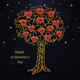 Gold forged valentines day tree with hearts Royalty Free Stock Images