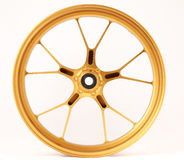 Gold forged wheels. Isolated wheell on a white background Stock Photography