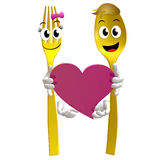 Gold fork and spoon icon with heart symbol Royalty Free Stock Image