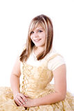 Gold formal on white smiling Royalty Free Stock Images