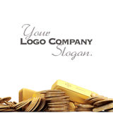 Gold fortune background. A fortune in gold ingots and coins royalty free stock photo