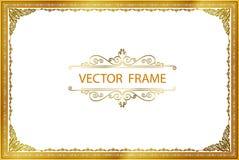 Gold-Fotorahmen mit Eck-Thailand-Linie mit Blumen für Bild, Vektordesigndekorations-Musterart Rahmengrenzdesign ist- patte lizenzfreie stockbilder