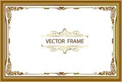 Gold-Fotorahmen mit Eck-Thailand-Linie mit Blumen für Bild, Vektordesigndekorations-Musterart Rahmengrenzdesign ist- patte lizenzfreie stockfotografie