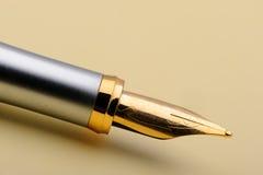 Gold fountain pen closeup Stock Photography