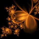 Gold fractal flowers on black background Stock Images
