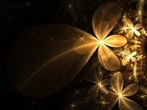 Gold fractal flowers Stock Images
