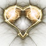 Gold fractal heart Royalty Free Stock Photos