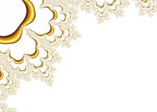 Gold Fractal Pattern on White Background Stock Photography