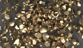 Gold Fragments Background. Pile Of Gold Fragments Background 3D Rendering Stock Images