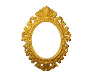 Gold fram. Picture gold frame with a decorative pattern on the wall Stock Image
