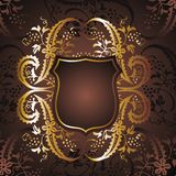 Gold frame 02. Graphic design gold-colored frame and flower figures Royalty Free Stock Photos