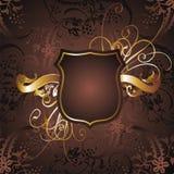 Gold frame 03. Graphic design gold-colored frame and flower figures vector illustration