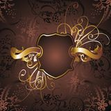 Gold frame 04. Graphic design gold-colored frame and flower figures Stock Image