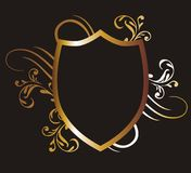 Gold frame 10. Graphic design gold-colored frame and flower figures Royalty Free Stock Photo