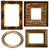 Gold frame. Collection Picture gold frame with a decorative pattern Royalty Free Stock Images
