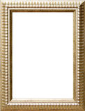 Gold frame. Antique gold wood picture frame with isolated white center Royalty Free Stock Photos