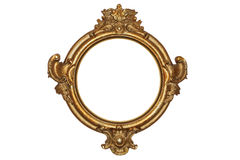 Gold frame. Old gold frame over white background stock images