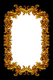 Gold frame. Isolated over the black and white Stock Photo