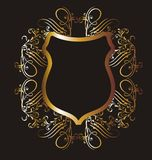 Gold frame 17. Graphic design gold-colored frame and flower figures Royalty Free Stock Photo