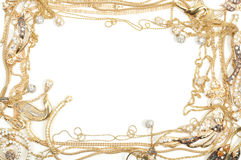 Gold frame. Fashion yellow gold jewelry frame, isolated on white background Royalty Free Stock Photo