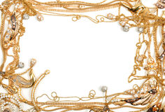 Gold frame. Yellow gold jewelry frame, isolated on white background Royalty Free Stock Photography