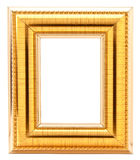 Gold Frame. Gold wood picture frame with isolated white center Royalty Free Stock Photography