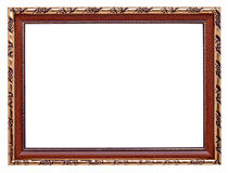 Gold frame. Wooden frame with gold inlay isolated on white background Royalty Free Stock Photography