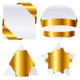 Gold frame. Ribbon-shaped gold frame and no background Stock Photo