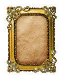 Gold frame. With old paper background Stock Photos