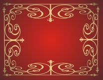 Gold frame. On red background -  illustration Royalty Free Stock Photos
