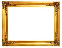 Gold frame. Old antique gold frame over white background with clipping path royalty free stock photo