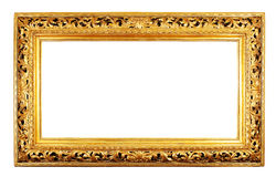Gold frame. Old antique gold frame over white background with clipping path Royalty Free Stock Photos