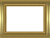 Gold frame. Gold style picture frame isolated Stock Photography