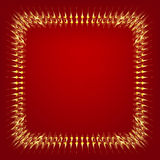 Gold frame. On red background Stock Images