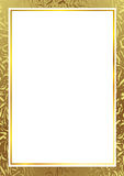 Gold frame. Gold abstract frame around standard A4 paper royalty free stock photo