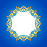 Gold frame on an abstract blue background. Stock Photo