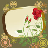Gold frame with abstract roses Royalty Free Stock Images