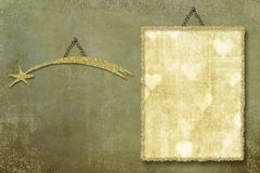 Gold Frame And Star On Grunge Background Stock Images