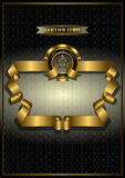 Gold frame for awards on patterned dark background Royalty Free Stock Photo