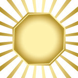 Gold vector frame on background with rays Royalty Free Stock Photos