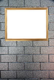 Gold frame on Background of stone. stock photography